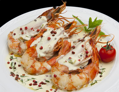 KING PRAWNS IN PERNOD CREAM SAUCE